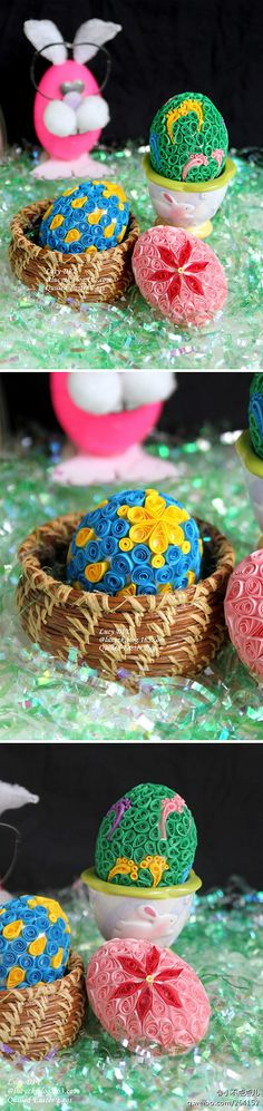 Origami derivative paper Easter eggs Quilled Easter Eggs