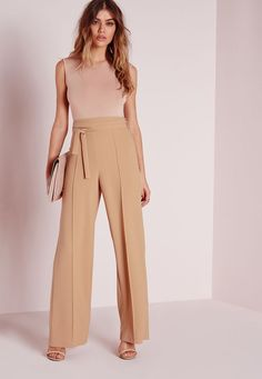 Good things come in small packages. Shop our Missguided Petite range, for babes and under. Get a super sophisticated evening look suitable for any occasion. These super easy crepe wide leg pants feature an attached tie belt at the . Trousers Women Outfit, Pants For Women, Clothes For Women, Fashion Pants, Fashion Outfits, Olive Pants, Petite Outfits, Petite Women, Wide Leg Trousers