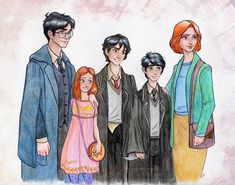 Harry James Potter, Lily Luna Potter, James Sirius Potter, Albus Severus Potter, and Ginerva Molly Weasley Potter Harry James Potter, Fanart Harry Potter, Harry Et Ginny, Magia Harry Potter, Arte Do Harry Potter, Harry Potter Artwork, Harry Potter Ships, Harry Potter Drawings, Harry Potter Universal