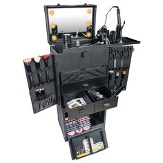 Rolling makeup train case with LED lighted mirror and built-in fan for makeup airbrush systems!  http://mycosmeticorganizer.com/shany-lighted-rolling-makeup-train-case/  #makeup #cosmetics #beauty #organize