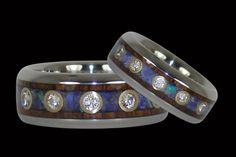 Australian Opal and Koa Titanium Rings with Twelve Diamonds Each http://www.hawaiititaniumrings.com/collections/titanium-ring-sets-engagement-rings-and-wedding-bands/products/australian-opal-titanium-ring-with-twelve-diamonds