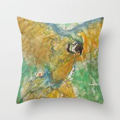 Parrot Throw Pillow by lindenhellart - $20.00