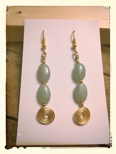 Ancient Aventurine know for Luck & using our Celtic Swirl I have created these fabulous Earrings. Pearl Earrings, Drop Earrings, Green Aventurine, Designer Earrings, Celtic, Quartz, Beads, Trending Outfits, Unique Jewelry