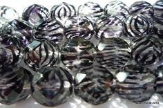10mm Indigo Zebra stripe Fire Polish Crystal beads.. I do like them!