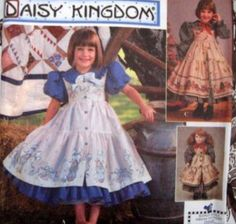 "SIMPLICITY SEWING PATTERN - 9706 GIRLS 5,6,7,8 DRESS PINAFORE DOLL CLOTHES 18"" TOO"