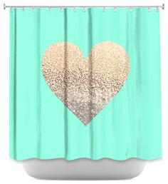 Lovely Shower Curtain Artistic Gatsby Gold Mint Heart Contemporary Shower Curtains