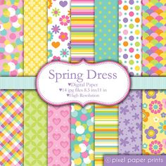 Spring Dress - Digital paper set