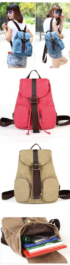 2017 Fashion Hasp Drawstring Solid Canvas Backpack Casual Simple Double Front Pockets School Bag backpacks for girls, pink backpack, mini backpack, cool backpacks, backpacks for women, leather backpack, travel backpack, laptop backpack, school backpacks, cute backpacks,