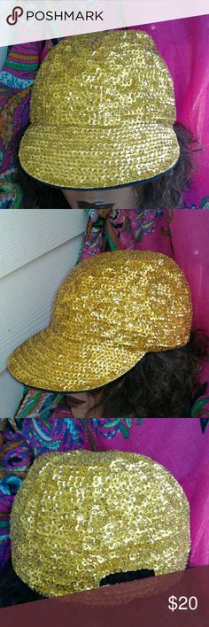 """VINTAGE 80'S GOLD SEQUINS BASEBALL CAP FULLY LINED, STRETCH ELASTIC BACK PANEL, NEVER WORN, """"""""TOTALLY AWESOME"""""""" Accessories Hats"""