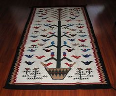 Tree of Life Rug Tapestry Wool Pictorial Southwest Decor Hand Woven 4' x 6'