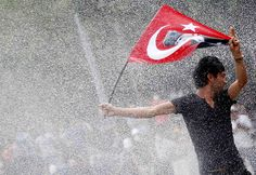 Turkey unrest: Protester with flag