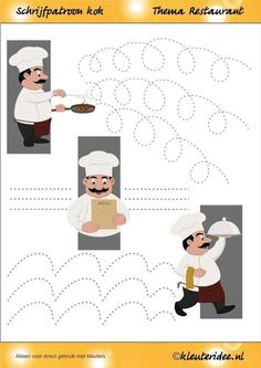 Cooking writing pattern for toddlers, restaurant theme, kindergarten teacher Petra, writing patterns Restaurant Themes, Pizza Restaurant, Dinosaur Activities, Preschool Activities, Teaching Kids, Kids Learning, Community Helpers, Pre Writing, Food Themes