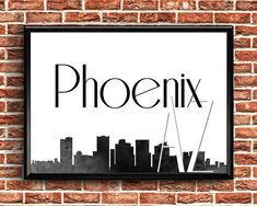 Phoenix Arizona  Phoenix Skyline  Phoenix Arizona Print Printable Maps, Printable Wall Art, Printables, Phoenix Skyline, Phoenix Arizona, Greeting Cards, City, Vintage, Printable Cards