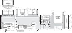 Floorplan for the Palomino Sabre fifth-wheel we are upgrading to.hopefully soon! Tent Campers, Truck Camper, Solid Surface, Dresser Sink, Rv Manufacturers, Hidden Bed, Kitchen Doors, Door Pulls, Fifth Wheel