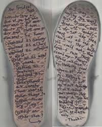 These shoes has a message on them as it has been thrown at President George Bush. Very Shocking!