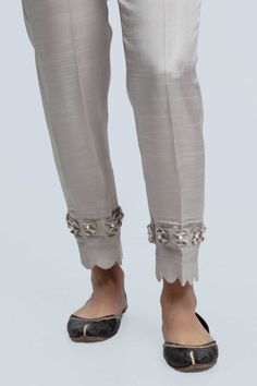 Gray-Raw Silk-Trouser - Trouser - Separates