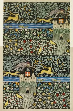 Huntsmen wall paper dessign, 1919. Process engraving, colored by hand on paper, Voysey