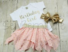 Gold Birthday Outfit Pink and Gold First by SewBerryCuteBoutique