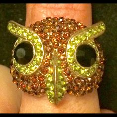 Precious owl statement ring with a lot of BLING Perfect piece for a conversation starter and can go with anything from jeans & T-shirt to a more formal sundress. Sparkles in the sun and is one size fits most.                                                                     PLEASE CONSIDER BUNDLING FOR BEST DEAL!! Jewelry Rings