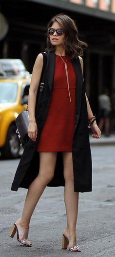 Mini dress + stylish sleeveless jacket + Adriana Gastélum + leopard print mules  Coat: Ioha Tata, Dress: Zara, Bag: Proenza Schouler.