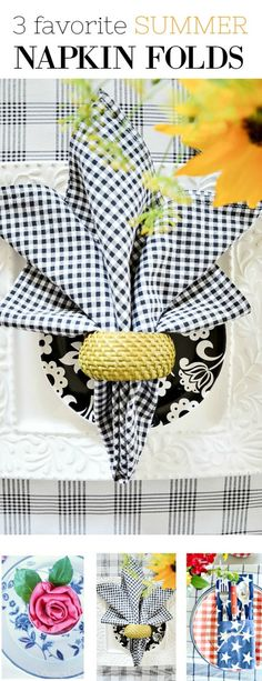 Easy napkin folds for cloth and paper napkin for summer entertaining! You can do every single napkin fold! Make summer easy and pretty with these super fun, attention grabbing napkin folds! It's as easy as 2 Get out those cloth napkins and use the! Napkin Ring Folding, Bunny Napkin Fold, Christmas Napkin Folding, Folding Paper Napkins, Napkin Rings, Linen Napkins, Cloth Napkins, Wedding Napkins, Wedding Table