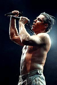 Till Lindemann singing Bestrafe Mich during one of their shows on the Sehnsucht Tour.
