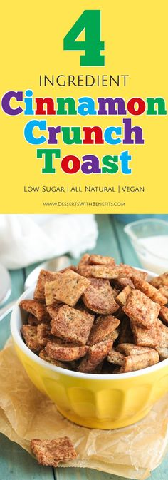 This Healthy Cinnamon Crunch Toast Cereal tastes just like the storebought version. But GUESS WHAT? This healthy homemade version is made without the added sugar, preservatives, and unnecessary additives. This Homemade Cinnamon Toast Crunch is low in sugar, all natural, and even vegan! -- Healthy Dessert Recipes with low calorie, low fat, high protein, and gluten free options at the Desserts With Benefits Blog (www.DessertsWithBenefits.com)