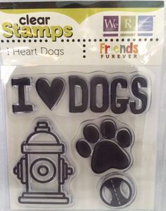"We R Memory Keepers Friends Furever ""I Heart Dogs"" Dog-Themed Clear Acrylic Scrapbooking Stamp by SimplyCraftSupplies on Etsy"