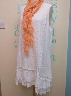 WHITE CLASSY LAGENLOOK LINEN & LACE TUNIC DRESS FITS PLUS SIZES UK 16-22 | eBay
