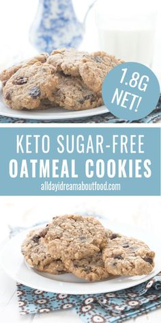 Keto cookies that look, taste, and feel just like oatmeal cookies! Low Carb Deserts, Low Carb Sweets, Healthy Sweets, Healthy Food, Sugar Free Oatmeal, Low Carb Oatmeal, Galletas Keto, Sugar Free Desserts, Keto Desserts