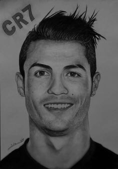 Pencil Portrait Drawing, Portrait Sketches, Vector Portrait, Pencil Art Drawings, Art Drawings Sketches, Cool Drawings, Football Player Drawing, Soccer Drawing, Celebrity Drawings