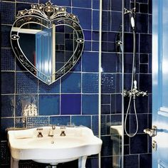 Blue bathroom Love this mirror!
