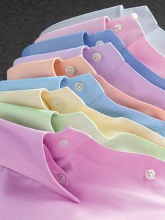~ It's a Colorful Life ~ — Collared Oxford Shirts in Bright Pastels Pastel Shirt, Bespoke Shirts, Formal Men Outfit, Men Dress, Shirt Dress, Clothing Photography, Pretty Pastel, Gentleman Style, Flannel Shirt
