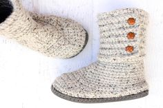 "Crochet boots with flip flop soles after 5 months of wear. Still in great shape! Yarn = Lion Brand Wool-Ease Thick & Quick in ""grey marble."""