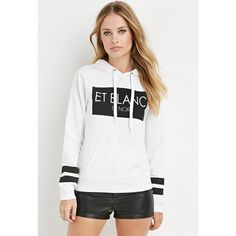 Forever 21 Women's  Et Blanc Graphic Hoodie ($20) ❤ liked on Polyvore featuring tops, hoodies, hooded sweatshirt, graphic hoodies, white top, long sleeve tops and graphic hoodie