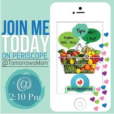 Join me Monday-Friday Live broadcast & Chat on Periscope  #organicliving . . . Watch live today at 2:10pm (pacific time) or see the Blog Post in TomorrowsMom.com . Don't have periscope? No worries download the app available on android Google and iPhone. Then look for  @tomorrowsmom . . #tomorrowsmom #periscope #frugal #organicmom #organiclife #organiccouponing #organicfrugal #crunchymama #couponcommunity #live2lead #livescope