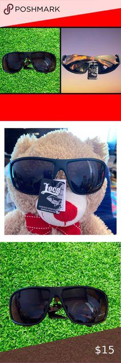 LC37 Locs Mens Cholo Biker Sunglasses w// Free Pouch White Frame Black Lens