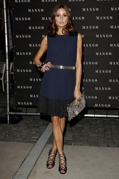 Deep navy color blocking with silver accessories.