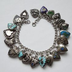 Classic Sterling Silver Puffy Heart Charm Bracelet
