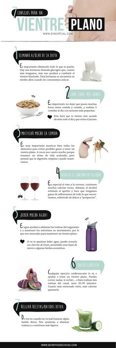 7 consejos para un vientre plano_web Healthy Habits, Healthy Tips, Healthy Recipes, Healthy Food, Health Diet, Health And Nutrition, Health Fitness, Fitness Tips, Fitness Motivation
