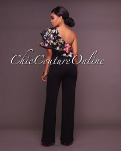 Felicia Black One Shoulder Ruffle Jumpsuit Ruffle Jumpsuit, Playsuit, Suits For Women, Clothes For Women, Chic Couture Online, Woman Outfits, Clubwear, African Fashion, Stylish Outfits