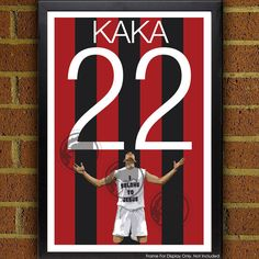 Kaka 22 AC Milan Poster - Italy Soccer Poster-  Poster, art, wall decor, home decor, world cup, rossoneri art work by Graphics17 on Etsy