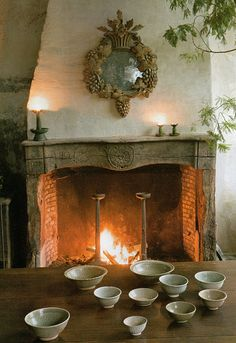 Love the fireplace......now if those bowls were just filled with chocolate.........