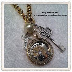 WANT ONE SO BAD! Origami Owl Always Dream Vintage Gold and Silver Cross Pearl Key Locket  www.buycharms.origamiowl.com.