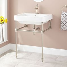 Jordyna Porcelain Console Sink with Brass Stand - Chrome
