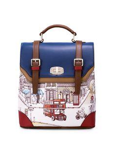 #AdoreWe #OOTD JUST STAR Multicolor Casual Printed Twist Lock Backpack - AdoreWe.com