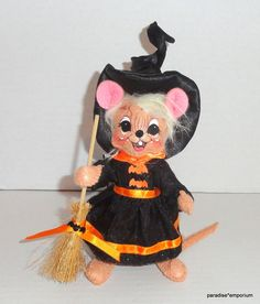 """New Annalee 6"""" Halloween Witch Mouse Doll Black Orange 2011 P74 #Annalee #DollswithClothingAccessories"""