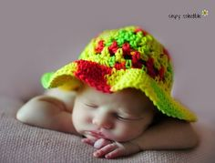 """""""Keep cool and stay in the shade with this Child's Easy Crochet Sun Hat. This free sun hat pattern makes a lovely sun hat for times in the sand box, at the beach, or going for walks and picnics. Shade their little noses and eyes from the rays of the sun."""""""