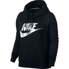 Women's Nike Sportswear Funnel Neck Hoodie ($50) ❤ liked on Polyvore featuring tops, hoodies, grey, graphic hoodies, hooded sweatshirt, funnel neck hoodie, gray hooded sweatshirt and gray hoodies