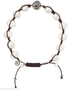 Pearl, cord, and sterling silver silpada bracelet. Adjustable sliding clasp. $39.